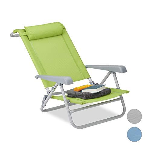 Relaxdays klappbar, Nackenkissen, Flaschenöffner, 8-Stufig verstellbar, bis 120 Kg, Kunststoff, Stahl, Grün