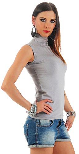BALI Lingerie - Damen Ärmellos Shirt Rollkragen - FX010 (M/L, Grau)