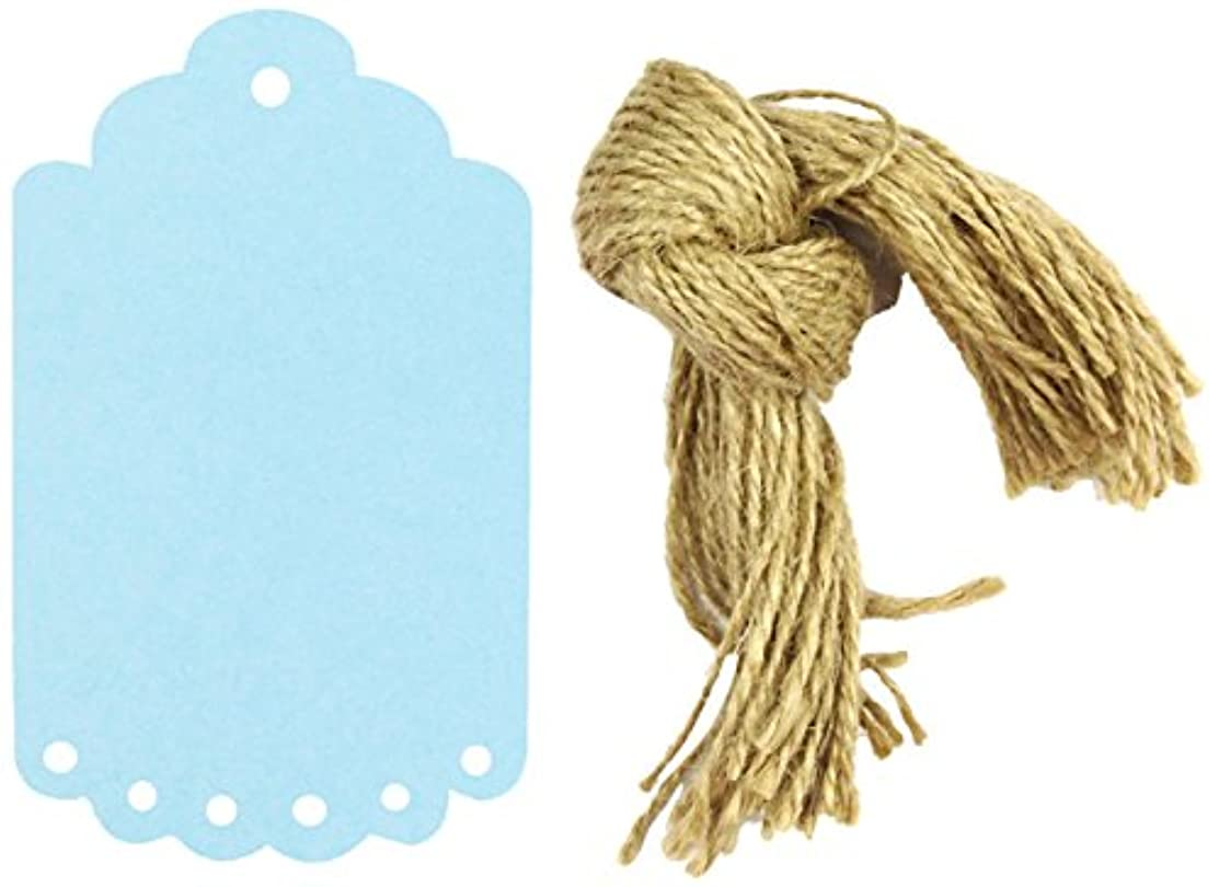 Wrapables 10 Count Gift Tags/Kraft Hang Tags with Free Cut Strings for Gifts, Crafts and Price Tags with Scalloped Edge, Large, Blue