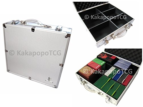 Kaiba Briefcase Silver Metal Storage Carry Case for Trading Cards TCG Yugioh YGO Ultra Pro Deck Protector Sleeve Deck Box MTG Magic The Gathering EDH Pokemon Vangard Arkham Horror Card Game