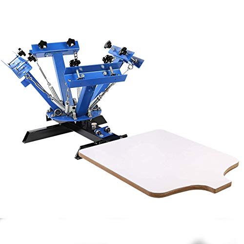 TECSPACE Screen Printing Machine 4 Color 1 Station ,Screen Printing Press 21.7X 17.7 Inch ,Silk Screen Printing for T-Shirt DIY Printing Removable Pallet
