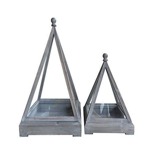 Rebecca Mobili Set 2 Lanterne Decorative, Portacandela Vintage, Legno Vetro, Grigio, Terrazzo Salotto - Misure 68 X 34 X 34 Cm (HxLxP) - Art. RE6228