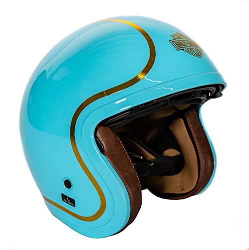 HARLEY-DAVIDSON Unisex Damen Herren Motorrad-helm Jethelm B01 Boogie 3/4 Helm Doppel-D Verschluss ECE 22/05 Hellblau, L
