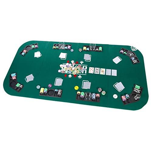 Faltbare Tischauflage Casino Pokertisch Pokerauflage Holzverstärkt klappbar 180 x 90 cm Chiptray Getränkehalter Black Jack Texas Holdem - 5