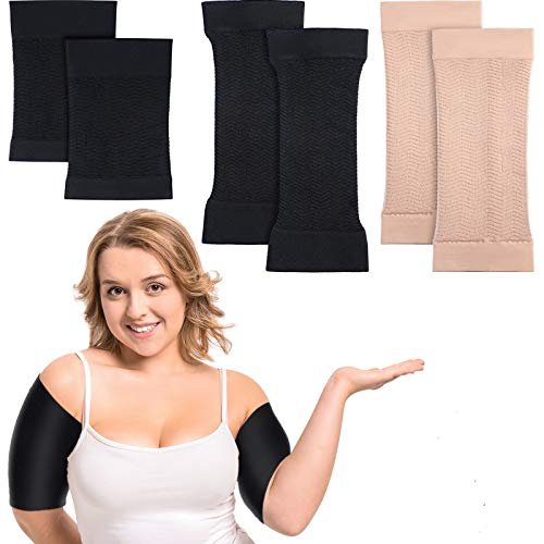 2 Pair Arm Shapers for Plus Size Women, Slim Arm Compression Sleeve Upper Slimming Arm Wraps for Flabby Arms, 1 Pair Calf Compression Sleeves Included