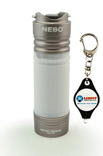NEBO Mini Keychain LED Flashlight Poplite Magnetic Base Bundle with Lightjunction Keychain Light (Silver)