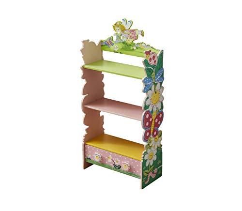 WODNEY Bücherregal aus Holz für Kinder | Kinder Bücherregal | Kinderbücherregal | Mädchen Holzregale, mit Wasserfarben Blumen Schmetterlingsfee