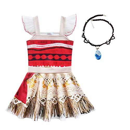 Thombase Moana Vaiana Traje de Princesa bebé niña Aventura Infantil para el Carnaval de Halloween Cosplay Ropa con Collar (Rojo-4, 5-6 año)