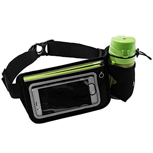 Sport Gürteltasche, Zxk Co Verstellbar Bauchtasche Gürteltasche Laufgürtel mit flaschenhalter Touchscreen Hüfttasche mit Kopfhöreröffnung geeignet Smartphone unter 6 Zoll