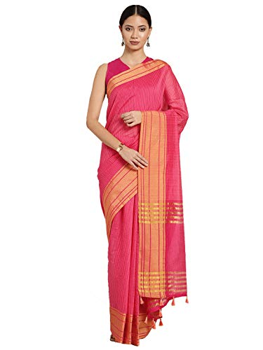 Inddus Pink & Peach-Coloured Cotton Blend Checked Saree With Blouse Piece