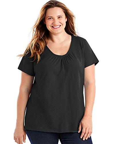 Just My Size Women's Short Sleeve Shirred V-Neck Tee, Black, 3X