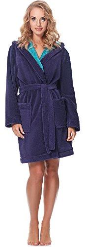 Merry Style Damen Bambusfasern Bademantel MSLL1004 (Violett/Blau, S)