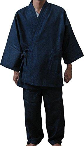 [江戸てん]作務衣 デニム生地 (綿100%)しっかりしているのに柔らかい さむえ 無地 通年 メンズ 紺 LL
