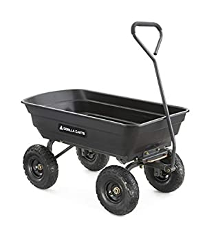Gorilla Carts GOR4PS Poly Garden Dump Cart with Steel Frame and 10-in Pneumatic Tires 600-Pound Capacity Black