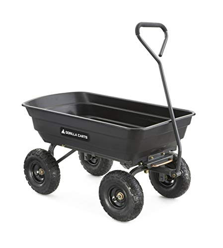 Gorilla Carts GOR4PS Poly Garden Dump Cart with 600-Pound Capacity
