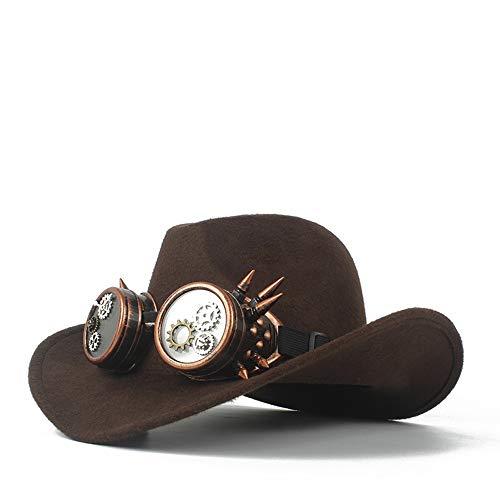 Xuguiping Mode Mannen Vrouwen Wol Western Cowboy Hoed Met Gear Bril Kerk Hoed Sombrero Hoed Roll Up Fascinator Hoed Grootte 56-58CM 56-58 Donkere koffie