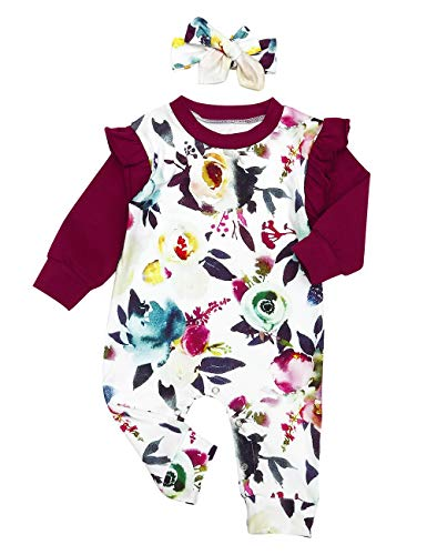 Newborn Baby Girl Onesies Romper Ruffle Bodysuit Solid Color Jumpsuit Tops+Cute Headband Fall Clothes Outfits (19-Floral, 0-3 Months)