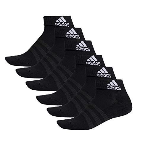 adidas 6 Paar Performance Sneaker/Quarter Socken Unisex Kurzsocke, Farbe:Black, Socken & Strümpfe:46-48