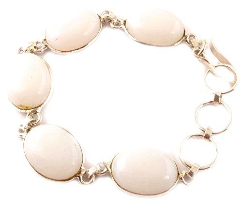 Indie Artigiani bianco naturale braccialetto di corallo della pietra preziosa 925 placcato braccialetto delle donne