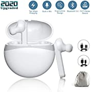 JoyGeek Wireless Headphones for iPhone Samsung, Bluetooth 5.0 True Wireless Earbuds in Ear Buds Earphones Stereo Sound Sports Running Headsets with Charging Case 40H Playtime Built in Mic
