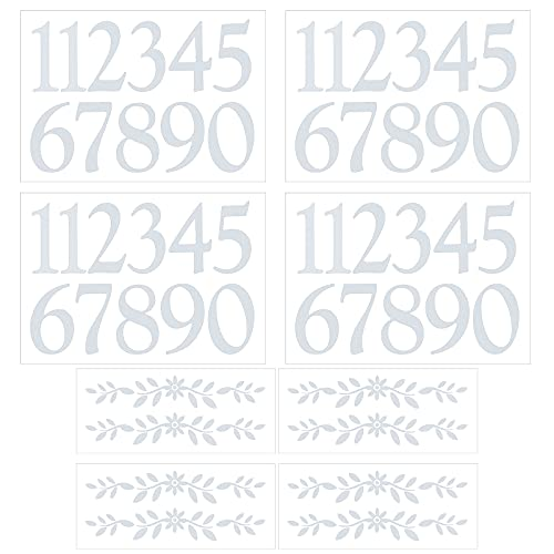 4 Inch White Reflective Mailbox Numbers Sticker Decal Die Cut Flowers Self Adhesive Vinyl Waterproof House Numbers for Mailbox, Sign, Window, Door, Car,4 Sets