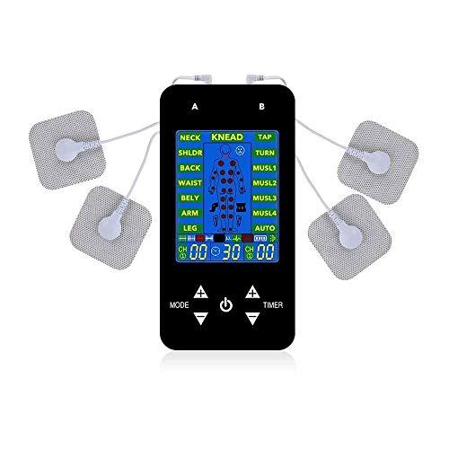HUIXINLIANG Máquina de estimulador Muscular de Masaje con Doble Canal y 6 Almohadillas, 15 Modos para Alivio del Dolor y Artritis y Fuerza Muscular