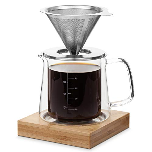 BTaT- Pour Over Coffee Maker Set, Double Wall Glass, 16 oz, Drip Coffee Maker, Permanent Filter, Coffee Maker Pour Over, Manual Coffee Maker, Coffee Pour Over, Glass Pour Over Coffee Maker, Dripper