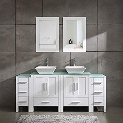 "Homecart 72"" Double Sink Bathroom Vanity Cabinet Combo Glass Top White Wood w/ 2 Basin Faucets Mirrors and Drains"
