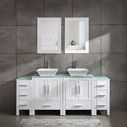 Homecart 72' Double Sink Bathroom Vanity Cabinet Combo Glass Top White Wood w/ 2 Basin Faucets Mirrors and Drains