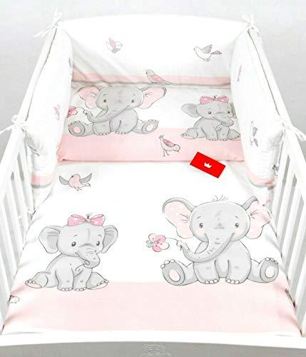 Juego de ropa de cama para bebé de 120 x 60 cm, funda de almohada para cama de bebé, 100% algodón, color rosa