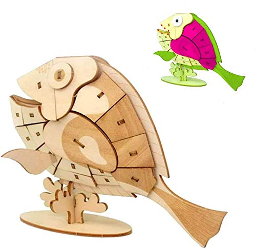 3D Wooden Puzzle Toys for Kids Wooden Animal Fish Model Puzzle, Mechanical Puzzles Jigsaw Puzzle Toys Model Kits Assemble Puzzle Toy Gifts for Kids Boys Girls