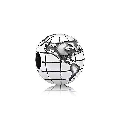 dingtian Abalorio para mujer, diseño de mapamundi y globo, para mujer, joyería de la tierra, accesorios de bricolaje y regalo para niñas