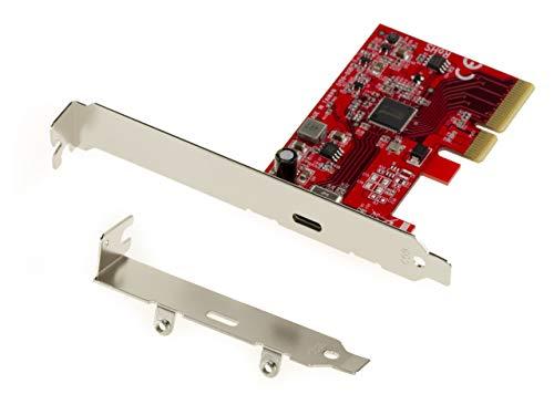 Kalea Informatique Karte PCIe Gen 3.0 4 x 1 Port USB 3.2 20G Typ C. High Power 5 V 3 A. USB3.2 Asmedia ASM3242. Equerres High et Low Profile Schwarz