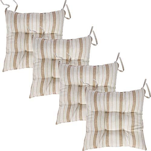 Viste tu hogar Pack 4 Cojines para Silla, 40x40 CM, Relleno de Algodón con Diseño de Rayas, Cómodas y Suaves, Ideal para la Decoración de Cocina y Sala, Color Marrón.
