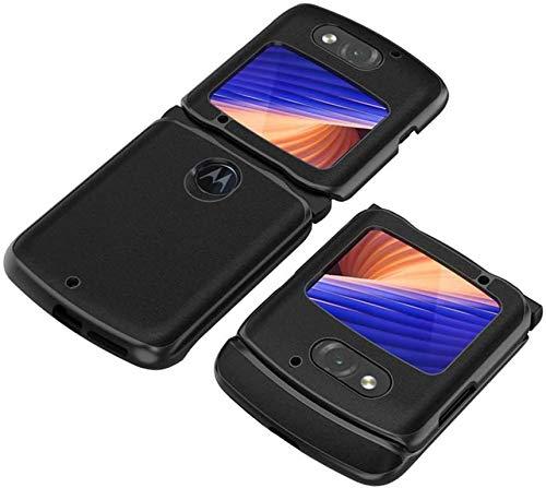 DEMCERT Schutzhülle für Motorola Razr 5G, luxuriös, Carbonfaser, Leder, Hybrid-Hülle, vollständiger Schutz, stoßfest, für Motorola Razr 5G 2020 Version (schwarz)