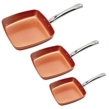 Copper Chef 8/9.5/11  Fry Pan Set