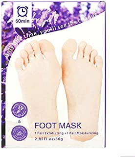 2 Pairs Foot Peel Mask Exfoliant for Soft Feet, Exfoliating Booties for Peeling Off Calluses & Dead Skin, For Men & Women Lavender