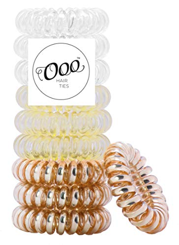 10 pack Twist Swirl PATENTED OOO Hair Ties. Ponytail holder spiral coil traceless gentle rubber bands. For all types of hair. LARGE SIZE (Gold, Blonde, Clear)