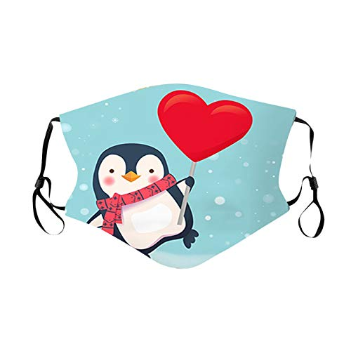 【Shipping from US!!!】 Adults Reusable Face_Masks Cute Christmas Penguins 3D Printed Face Bandanas Breathable Washable Mouth Coverings with Adjustable Earloop for Men Women Outdoor