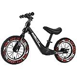 GASLIKE Bicicleta de Equilibrio para niños, sin Pedales, Ruedas de 12/14 Pulgadas, Asiento Ajustable, Primera Bicicleta para niños de 2-8 años de Edad, Estable y Segura,F 14inch Black