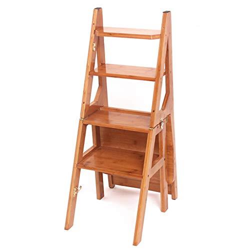 Multifunktions Bambusleiter, Haushalts-faltende Leiter-Hauptmultifunktionsleiter-vier Schritt-Wohnzimmer-Leiter-Größe 41 * 42 * 90CM stabil (Farbe : A, größe : 41 * 42 * 90CM)