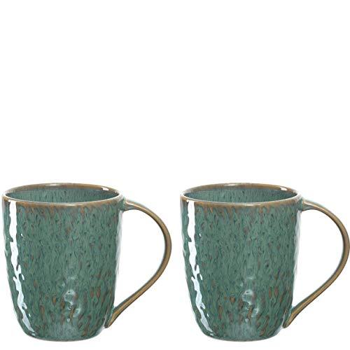 Leonardo Matera Keramik-Tassen 2-er Set, spülmaschinengeeignete Kaffee-Tassen, 2 mikrowellenfeste Tee-Tassen, Becher mit Glasur, grün 430 ml, 026991