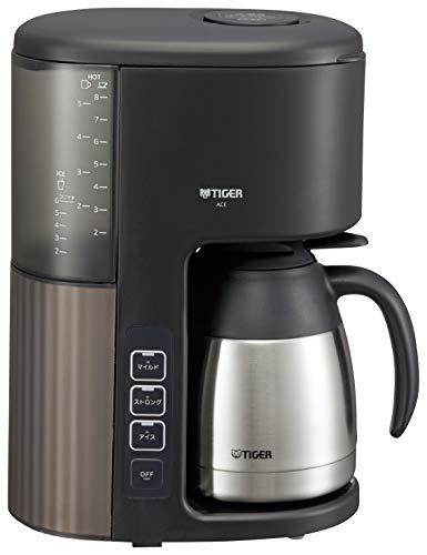 タイガー魔法瓶(TIGER) コーヒーメーカー 8杯用 真空 ステンレス サーバー アイス機能付き カフェブラック ACE-S080KQ