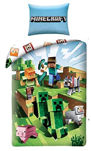Creeper Minecraft Bettbezug-Set Kinder Bettwäsche 100% Baumwolle Cotton Bettbezug 140 x 200 cm + Kissenbezug 70 cm x 90 cm Wende-Bettwäsche grün