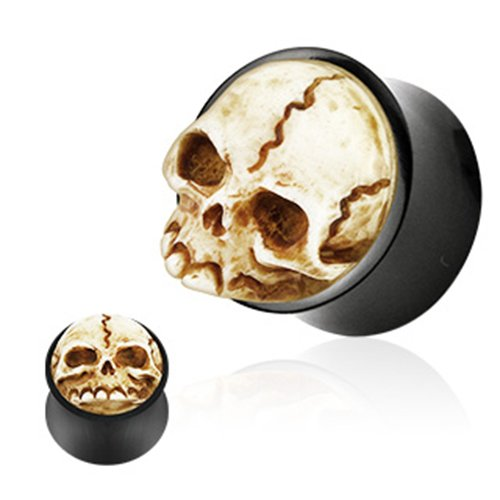 BlackAmazement Unisex 3d Flesh Tunnel Plug Inlay Piercing organico in corno di bufalo ossa plastica Skull Teschio Gothic, cod. Plug-01