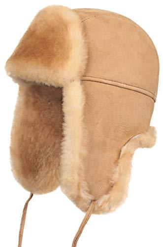 Zavelio Unisex Shearling Sheepskin Leather Aviator Russian Ushanka Trapper Winter Fur Hat (Tan, X-Large)