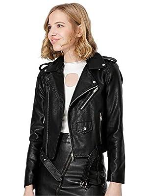 Jhichic Women's Faux Leather Textured Short Moto Jacket Zip-up Slim PU Biker Coat with Pockets (Black, XXL)