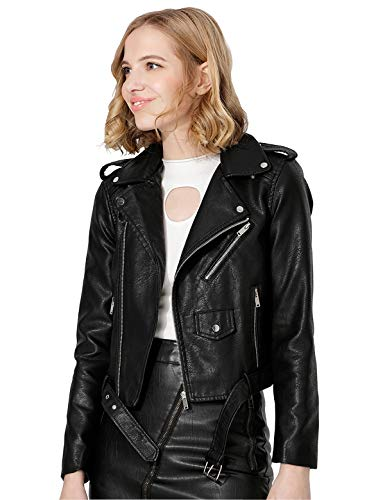 Jhichic Women's Faux Leather Textured Short Moto Jacket Zip-up Slim PU Biker Coat with Pockets (Black, S)