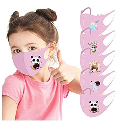 Bandanas ?USA in Stock Fast Delivery ? 5 PCS Kids Cotton Face????????????????, Cartoon Print Mouth Covering Reusable Washable Dustproof Face Health Protection