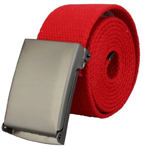 Alex Flittner Designs Ceinture tissu haute qualité 4cm largeur avec boucle déployante en rouge | Longueur totale: 110cm = Tour de taille 95cm